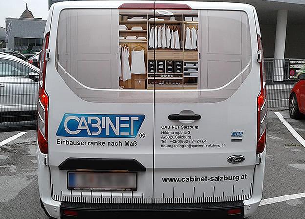 Firmenbeschriftung Digitaldruck Cabinet