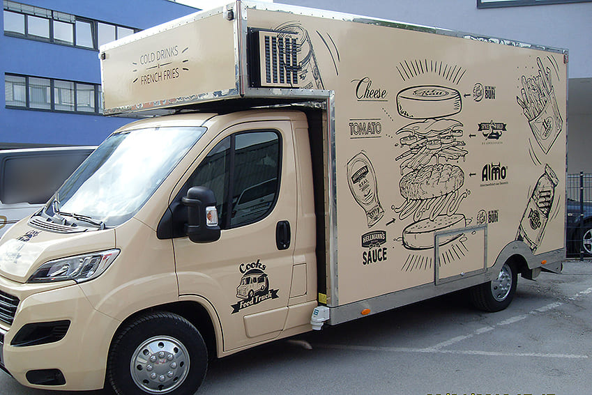 Food Truck Klebetexte Firmenfahrzeug Beschriftung