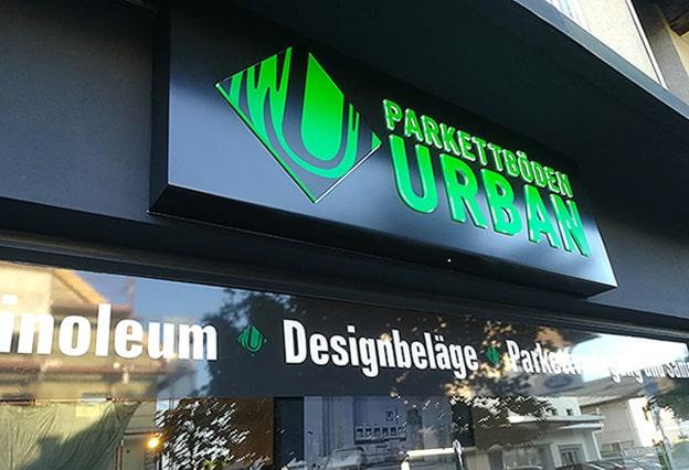 Leuchtkasten Schaufenster Urban Parkettböden